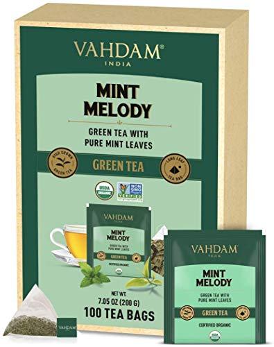 VAHDAM, Biologico Tè Verde alla Menta (100 Bustine di Tè) | Tè Verde in Bustina | Tè Verde a Foglia Lunga | 100% Naturale con Foglie di Menta Piperita e Menta Gentile
