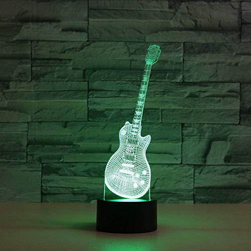 Lámpara de ilusión 3D de guitarra para instrumentos musicales para niños, niñas, regalo, luz de noche 3D para dormitorio junto a la mesa, lámpara de mesa de escritorio con 16 colores cambiantes,