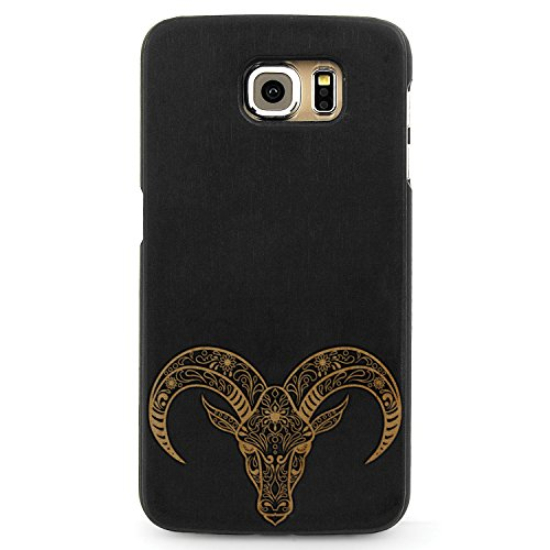 JewelryVolt Wooden Phone Case for Galaxy S6 Edge Black Wood Laser Engraved Spiritual Animal Floral Death Skull Goat Ox