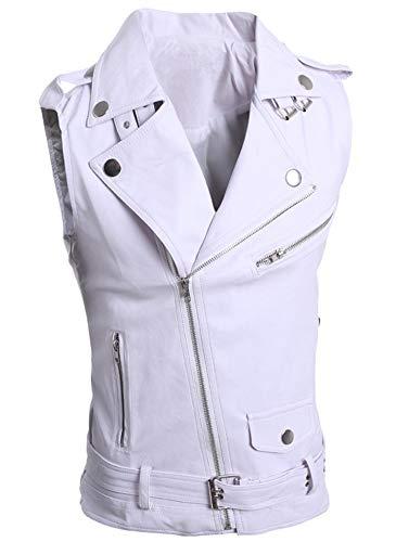 LifeHe Men's PU Leather Punk Zipper Sleeveless Vests Jacket (White, L)