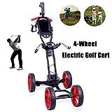 Electric Golf Trolley, Golf Caddy with Umbrella Holder, 4-Wheel Golf Push Cart