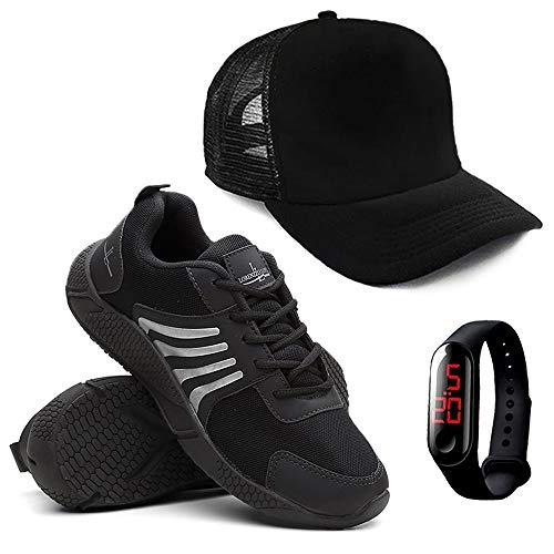 Kit Tenis Running Masculino + Relógio Digital + Boné - Preto/42