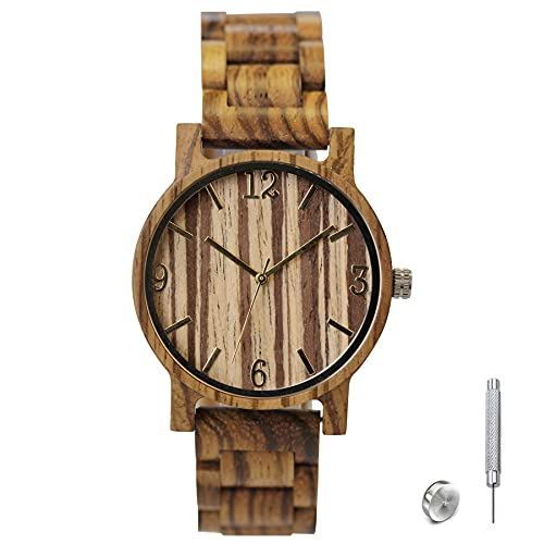 SKYLINE Reloj de Madera Unisex, Reloj de Pulsera con Correa de Madera Ajustable, Ecólogico y Vegano, con Diseño de Rayas en Pantalla, Perfecto para Regalo de Cumpleaños, Aniversario etc