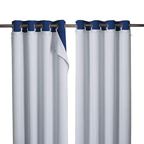 """NICETOWN Blackout Curtain Liners for Sheer Curtains, Cold Heat Light Noise Blocking Liners with Rings: Easy to Open and Closed, Thermal Liners for 84 inches Long Curtains, 1 Pair, 50"""" x 80"""" Per Panel"""