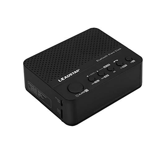 Bluetooth-luidspreker, MP3 draadloze Bluetooth-muziekaudio-luidspreker MP3, helder en vloeiend geluid, draadloze stereo, wekker, klok, FM-radiofunctie, 3,5-inch schermwijzer(black)