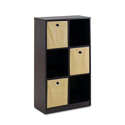 Furinno Petite Storage Organizer Bookcase With Bins, Espresso/Light Brown