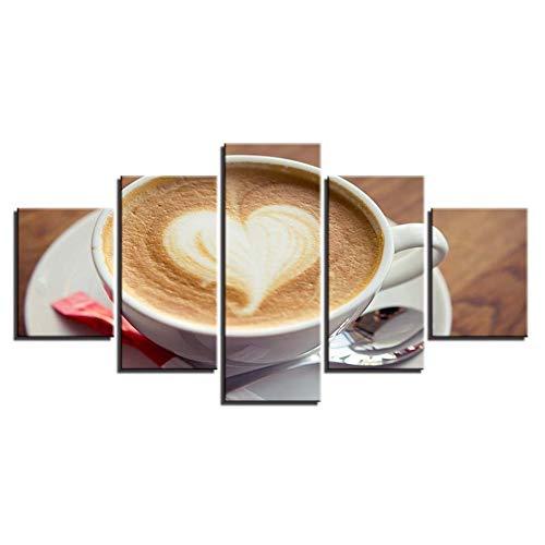 ZSHSCL Afbeelding op canvas decoratief schilderij kunst gedrukt modern liefde hart koffie patroon 5 stuks foto's schilderijen op canvas muurkunst voor slaapkamer Home Office Decoraties (geen frame) Medium