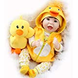 XYSQWZ 55cm Original Reborn Baby Doll Realista Recién Nacido Baby Duck Dress Set Lovely Smile Face Muñeca Ponderada Cabello Enraizado 1214