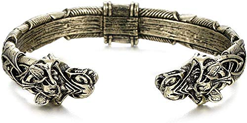 WESD Pulsera de estilo vintage, hecha a mano de Fenrir Vikingo, joyería de moda, regalo para el día de San Valentín, acero inoxidable duradero, hecho a mano y suave pulido de bronce