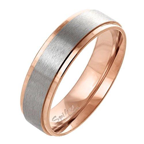 Paula & Fritz® gebürsteter Edelstahlring Damen-Ring Verlobungs-Ring Freundschaftsring Herrenring Partnerring Stepped Edge roségold 57 (17)