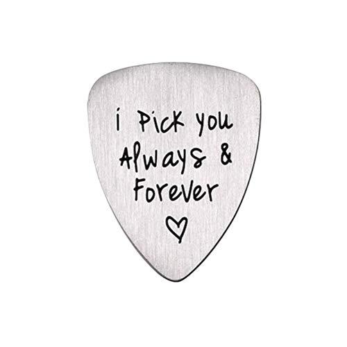 Supvox Guitar Pick Ich Pick Sie immer für immer Brief Titan Stahl Guitar Pick Halskette Musik Schmuck Anhänger Geschenk DIY für elektrische akustische Bass Gitarre