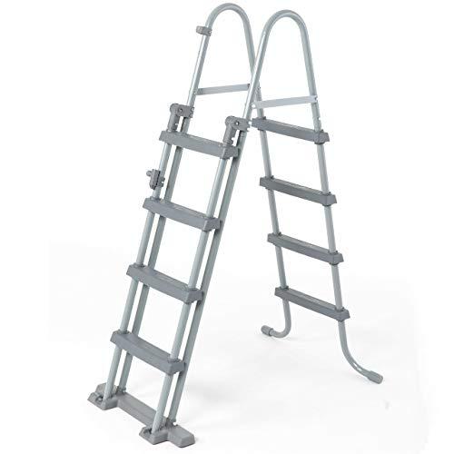 Bestway - Sicherheitsleiter für Aufstellbecken, 4 Stufen auf jeder Seite, Höhe 122 cm