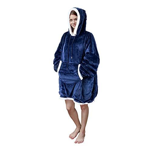 Viviland Hoodie Sherpa Decke Sweatshirt Soft Warm Plus Große Fronttasche TV-Decken für Erwachsene, Marineblau
