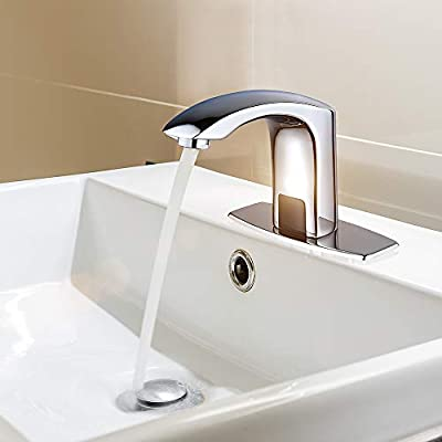 Automatic Commercial Sensor Touchless Bathroom Faucet with Hole Cover Deck Plate,Vanity Faucet,Motion Activated Hands Free Vessel Sink Tap with Control Box,Lead Free Certificated,Polish Chrome Finish…