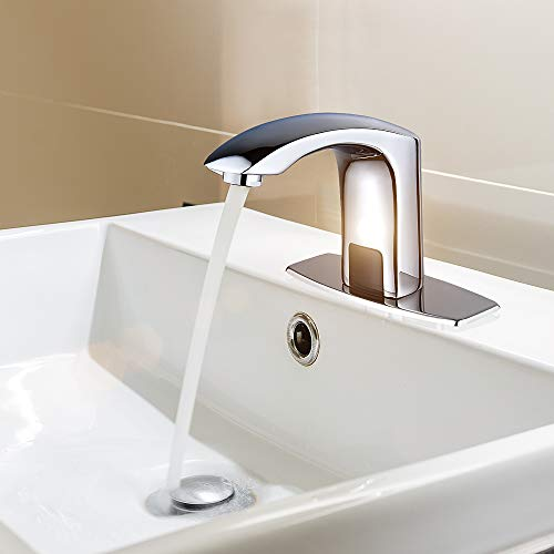HALO Automatic Commercial Sensor Touchless Bathroom Faucet with Hole Cover Deck Plate,Vanity Faucet,Motion Activated Hands Free Vessel Sink Tap with Control Box,Chrome Finish