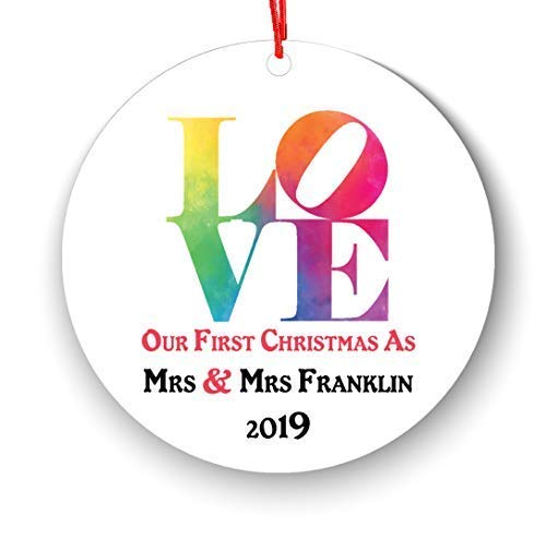 Wini2342ckey Personalized Love Same Sex Couple Marriage Christmas Ornament, 1st Xmas Gifts for Married Women Female First Mrs and Mrs. Wedding Elegant Groom Engagement Present