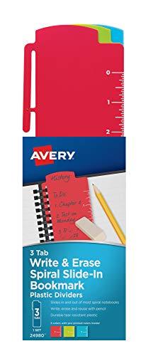AVERY Spiral Slide-in Plastic Write & Erase Bookmark Dividers, 3 Assorted Color Tabs, 1 Set (24980)