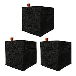 FADDA Felt Storage Basket, Fabric Cloth Storage Bin Collapsible Organizer Basket with Handle for Cloth Toys Foldable Cloth Bin for Bedroom Playroom Office