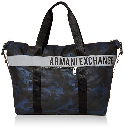 AX Armani Exchange Bolsa de lona con logotipo de camuflaje para hombre.