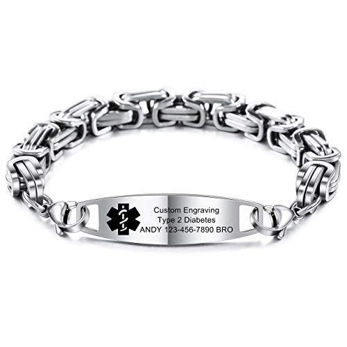MOWOM Medical Alert Bracelet Custom Engraved Allergy Life Identification Name ID Stainless Steel Link Chain (Style04 - Silver Plain Tag & Silver Byzantine Chain)