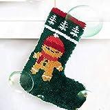 Latch Hook Kits Calcetines de Navidad for Adultos Bricolaje Tapiz Alfombras Tapetes Haciendo Amortiguador de la Almohadilla pestillo del Gancho Bordado Kit de Santa Claus 50 * 42cm