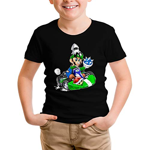 Okiwoki T-Shirt Enfant Garçon Noir Parodie Mario Kart - Luigi - Kart Fighter - Joueur 2 (T-Shirt Enfant de qualité Premium de Taille 9-10 Ans - imprimé en France)
