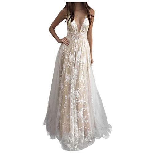 Vestito Donna Elegante Donna Vestito Lungo Abito da Cerimonia Elegante Vestiti da Matrimonio Lunghi Formale Banchetto Sera Maxi Dress Pizzo Maniche Lunghe Prom Party Sera Abito