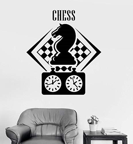 TJJF Tatuajes de pared Figura de jugador de ajedrez Figuras de ajedrez Juego de inteligencia Pegatinas Amantes Niños adolescentes Dormitorio Decoración para el hogar Pegatinas de pared