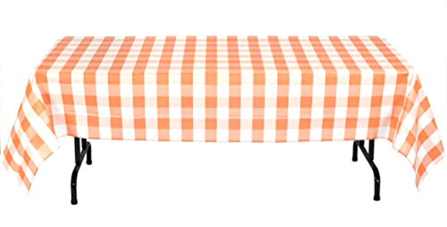 Havercamp Orange and White Plaid Table Cover | 54