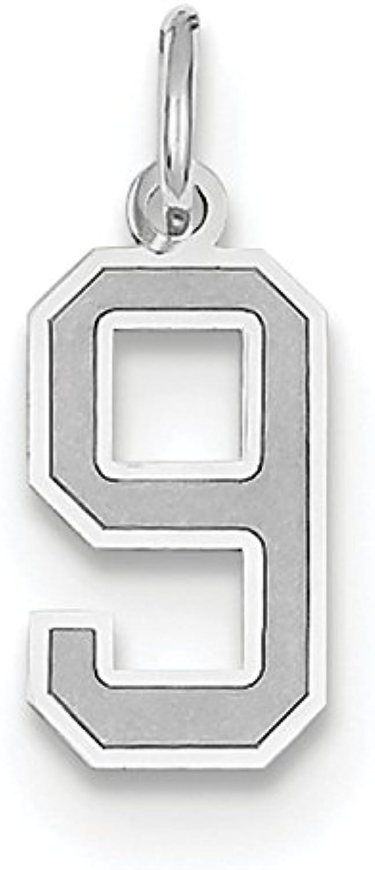 Diamond2Deal 14k White gold Small Satin Number 9 Pendant