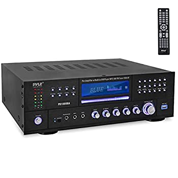 4-Channel Wireless Bluetooth Power Amplifier - 1000W Stereo Speaker Home Audio Receiver w/ FM Radio USB Headphone 2 Microphone w/ Echo Front Loading CD DVD Player LED Rack Mount - Pyle PD1000BA