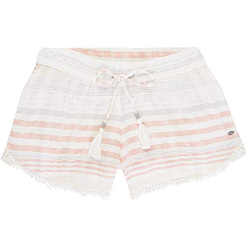 O'Neill Damen LW Jacquard Lace Detail Shorts, Weiß All Over Print mit Pink/Lila, L