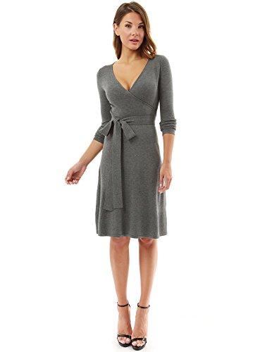 PattyBoutik Damen Strickkleid, langärmlig mit V-Ausschnitt und Gürtel (grau S 36/38)