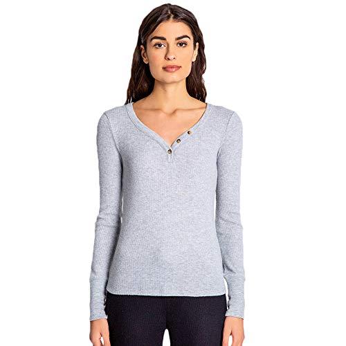 PJ Salvage Women's Loungewear Textured Basic Long Sleeve Pajama Top, Heather Grey, M