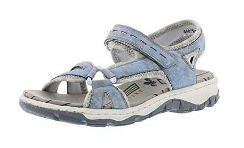 Rieker 68879 Damen Trekking Sandalen,Outdoor-Sandale,Sport-Sandale,Sommerschuh,heaven/silverflower/12/40 EU / 6.5 UK