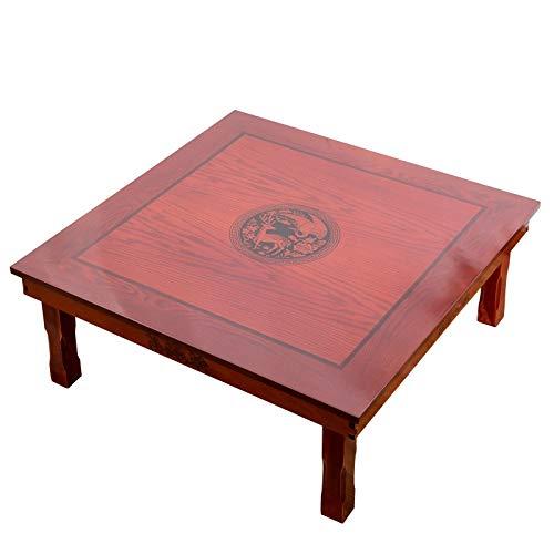 ZQALOVE Platz 80x80cm Korean Bodentisch Klappbeine Antique Home Möbel Esstisch Traditionelle koreanische Low Table
