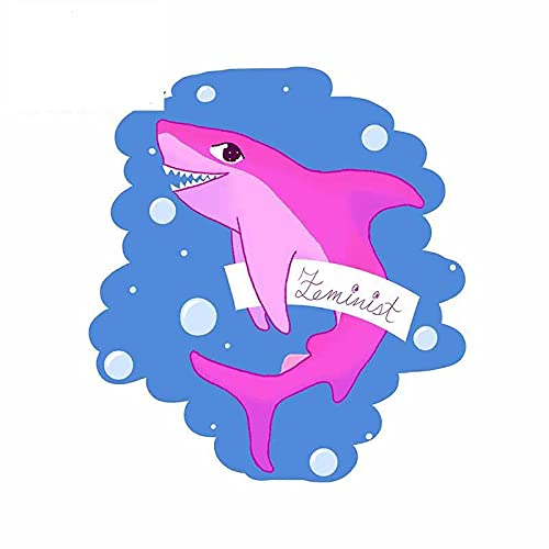 A/X 13 cm 11,6 cm para Feminista Pink Shark Coche Pegatina Parabrisas Anime refrigerador calcomanía Dibujos Animados
