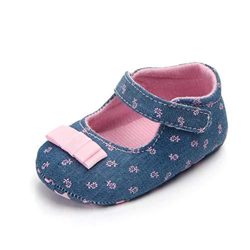 1 Paar Unisex-Baby-mädchen-Baumwollschuhe Antiskid Sole-Blumen-drucken Magie Aufkleber Indoor Prewalker Schuhe Sneaker Rosa 12cm