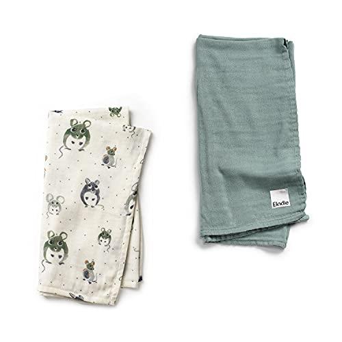 Elodie Details Paquete de 2 Mantas para Bebé de Muselina de Bambú Oeko-Tex, Ideal para la Lactancia y como Manta para Envolver, 80 x 80 cm - Forest Mouse/Mineral Green