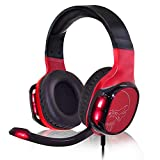 SPIRIT OF GAMER - ELITE-H60 - Red Audio Pro Gamer Auriculares - Simulated Leather - Micrófono - Luz de Fondo LED Roja para Auriculares - Multiplataforma PC / PS4 / XBOX ONE / Switch