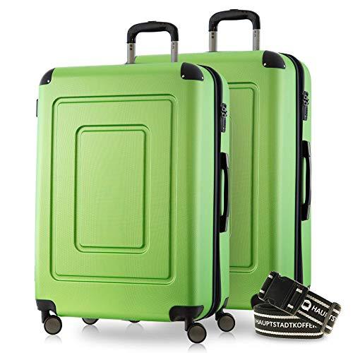 Happy Trolley - 2er Koffer-Set Trolley-Set Rollkoffer Hartschalen-Koffer Reisekoffer Lugano sehr leicht, TSA, 66 cm, 78L, (2xM), Apfelgrün +Gepäckgurt