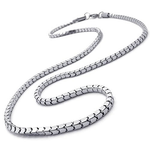 Luntus Joyeria Collar de Hombres, Collar de Acero Inoxidable, Plata, 3 mm de Anchura, 55 cm de Longitud