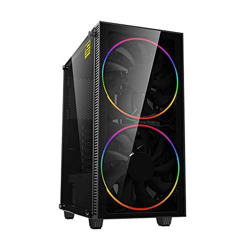 GAMEMAX Black Hole ARGB Mid-Tower PC Gaming Case ATX, 3 pin AURA Sync, 2 ventole ARGB da 200 mm incluse, hub ARGB, supporto per 5 ventole, raffreddamento ad acqua, nero