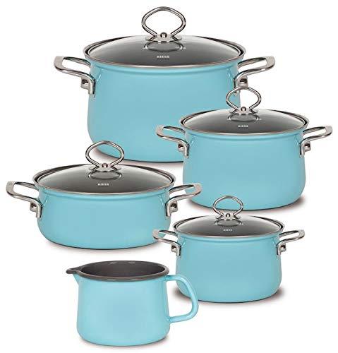 Riess Enamel Kelomat Value 'Nouvelle Blue 5Piece Saucepan Set with Pot