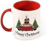 Divertente tazza da caffè in ceramica - Decorazione natalizia Foglia circolare con Buon Natale per uomo / San Valentino / Compleanno / Bicchieri natalizi Tazze-rosso-modello5