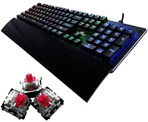 YEYIAN Teclado mecánico Gaming, Flare, 104 Teclas, Switch Rojo, RGB retroiluminado, reposamuñecas, con Cable, Negro (YAT1803)