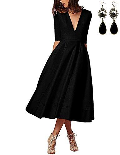 MODETREND Donna Vestiti Lunghi da Matrimonio Autunno Elegante Collo V Vestito A Pieghe Skater Abito Maxi Damigella Sera Cerimonia Inverno (L, Nero)