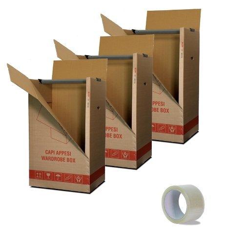IMBALLAGGI 2000-3 Scatoloni 50x50 cm h 120 cm - Scatole Cartone Porta Abiti con Barra Appendiabiti - Cartoni per Trasloco Armadio - 3 Pezzi + 1 Nastro Adesivo Omaggio