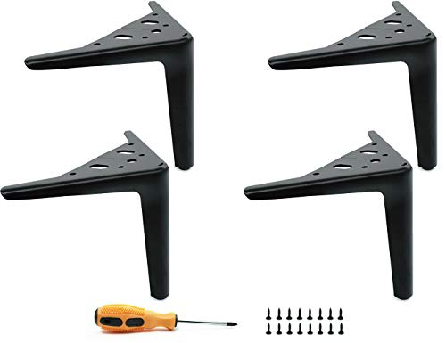 LONGZG 4 piezas de patas para muebles de metal de 15cm, diseño industrial moderno, patas para mesas negras DIY con tornillos, patas reemplazables para sofás, mesas de centro, camas, armarios, etc.