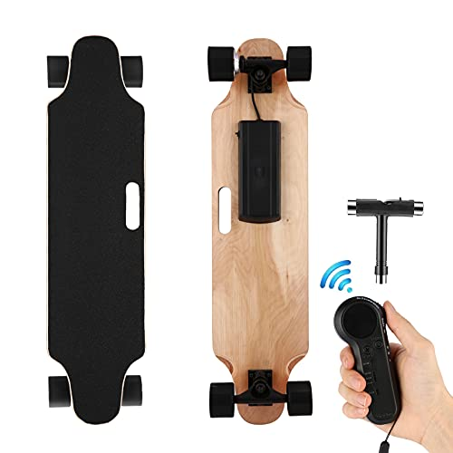 Youth Electric Skateboard Electric Longboard with Wireless Remote Control 7 Layers Maple Waterproof E-Skateboard for Adult, 250W Moter, 12 MPH Top Speed, Max Load 220lbs (Black)
